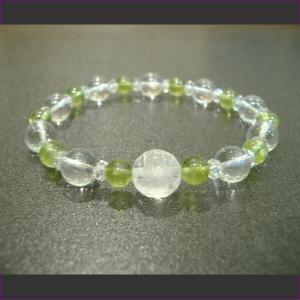 鳳凰彫り水晶ペリドットブレスレット